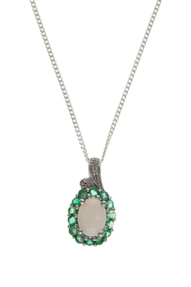 Emerald and Opal Pendant Solid Sterling Silver Diamond Necklace Natural Stones